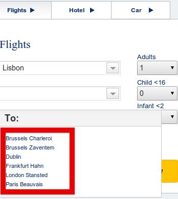 Направления Ryanair из Лиссабона