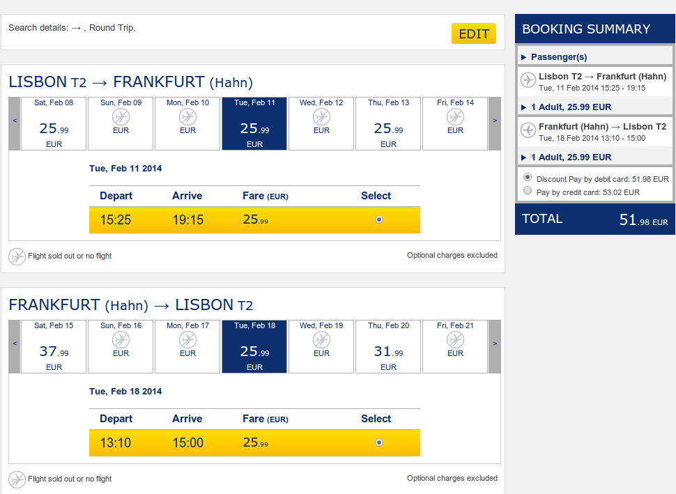 Ryanair Лиссабон-Франкфурт