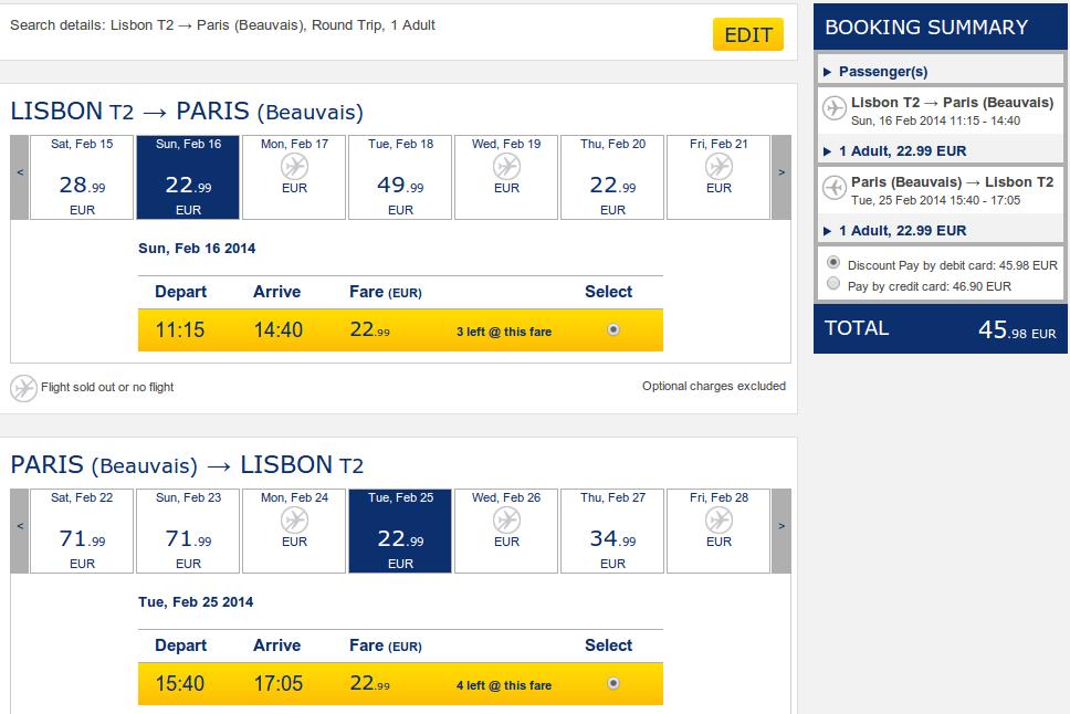 Ryanair Лиссабон-Париж